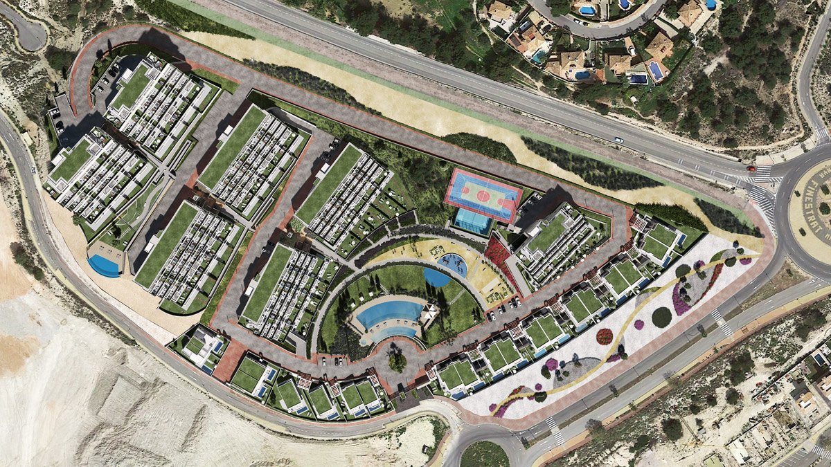 Render exterior cenital aérea conjunto residencial cerca de Benidorm por GAYARRE infografia