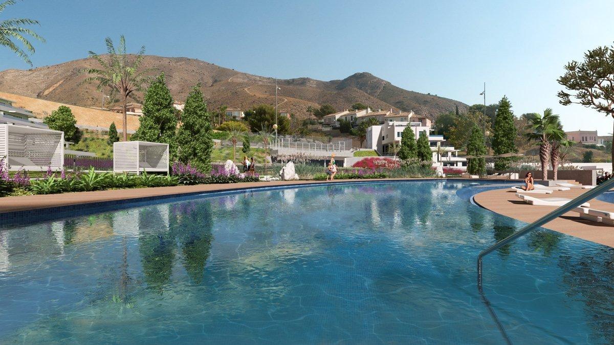 Render exterior piscina conjunto residencial cerca de Benidorm por GAYARRE infografia