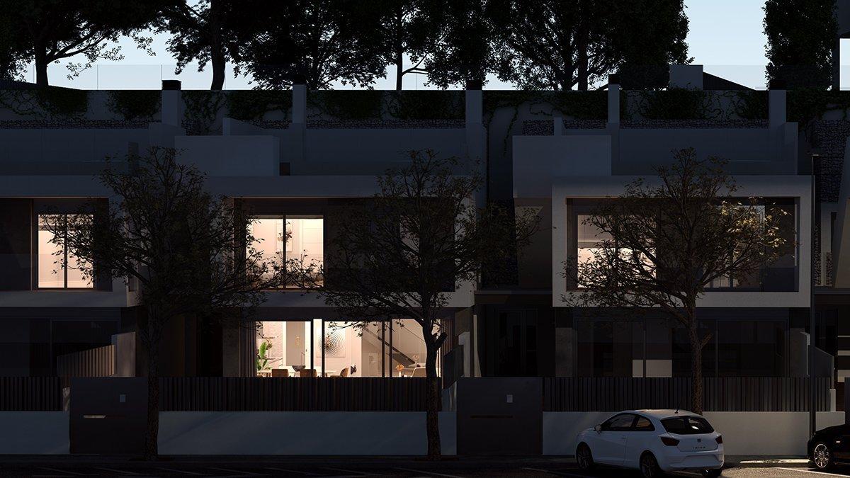 Render exterior villas de lujo nocturna por GAYARRE infografia