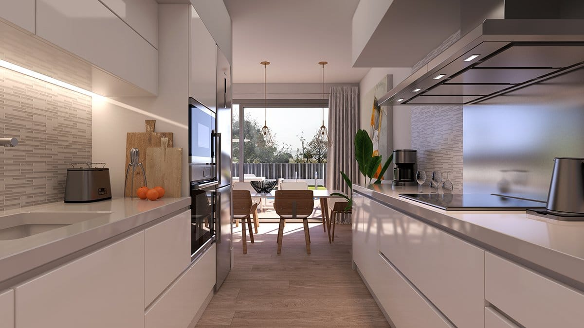 Render interior cocina villas de lujo por GAYARRE infografia
