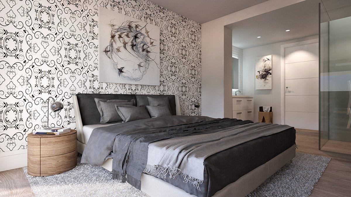 Render interior dormitorio villas de lujo por GAYARRE infografia