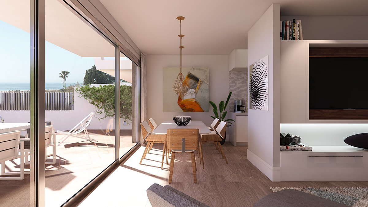 Render interior salón villas de lujo por GAYARRE infografia