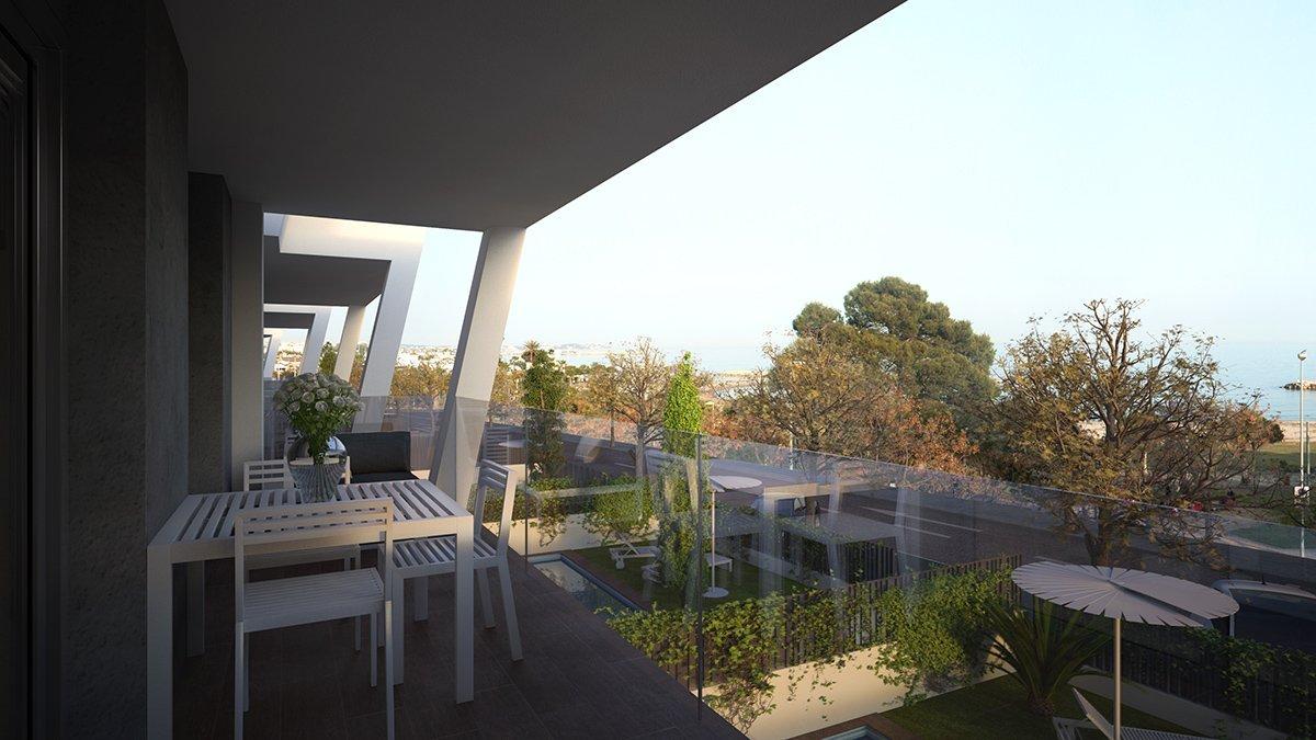 Render exterior terraza villas de lujo por GAYARRE infografia