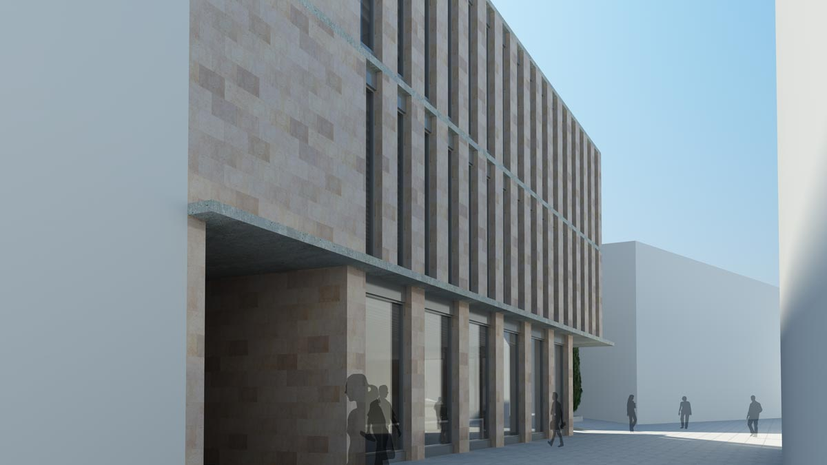 Render exterior edificio de oficinas por GAYARRE infografia