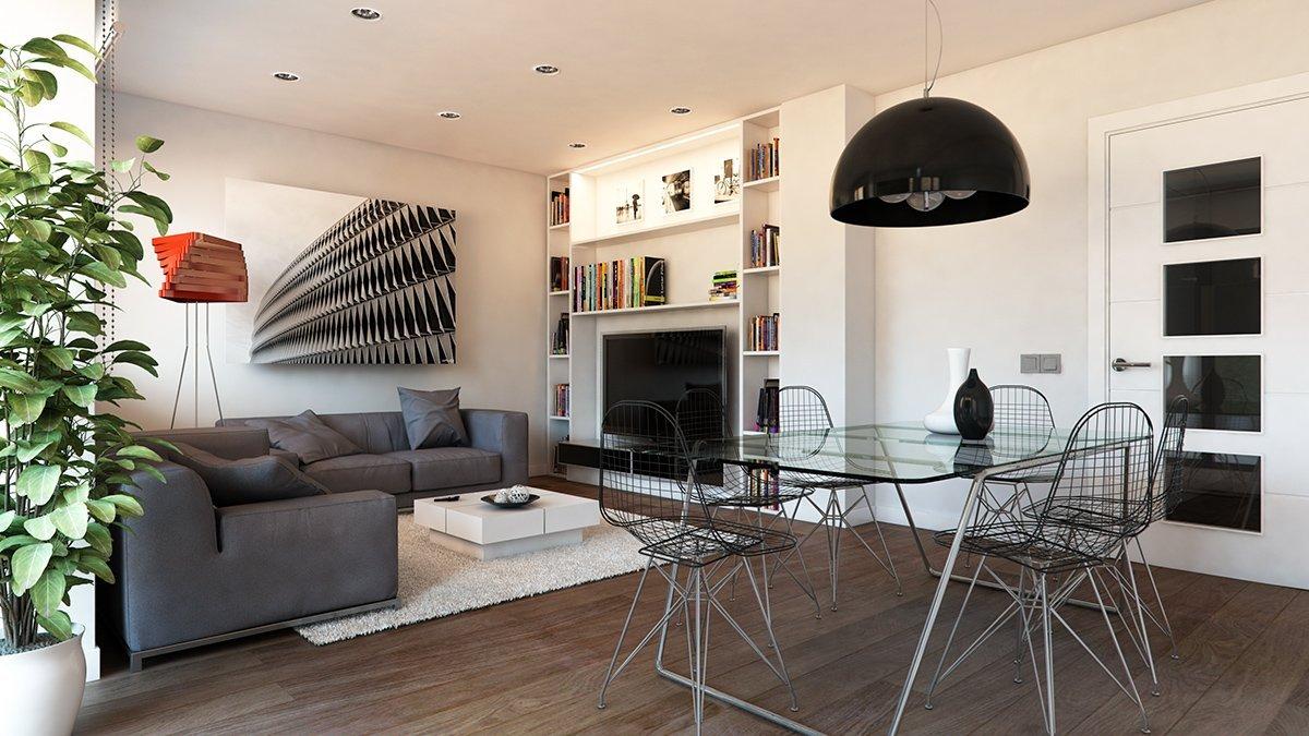 Render interior salón por GAYARRE infografia