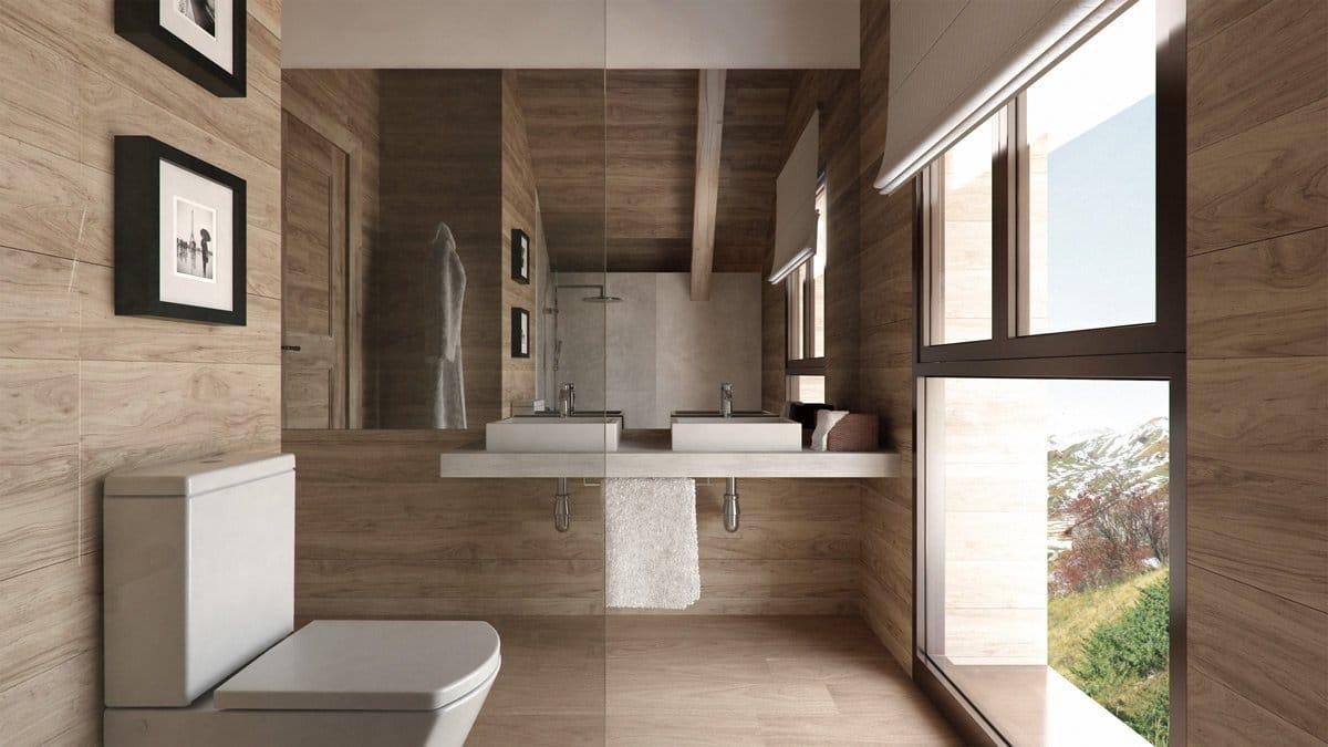 Render interior baño casa en la montaña por GAYARRE infografia