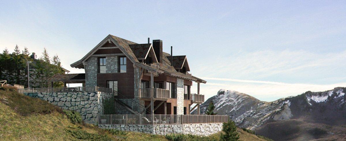Render exterior casa en la montaña por GAYARRE infografia