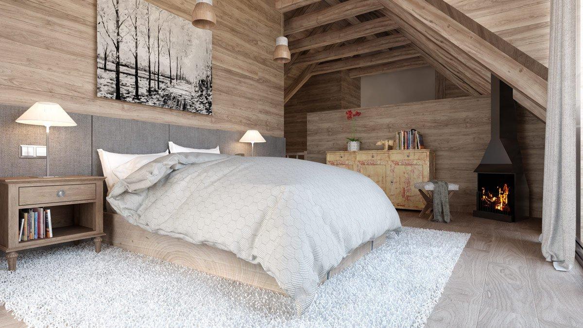 Render interior dormitorio casa en la montaña por GAYARRE infografia