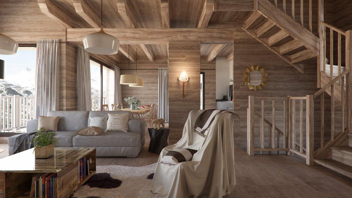 Render interior salón casa en la montaña por GAYARRE infografia