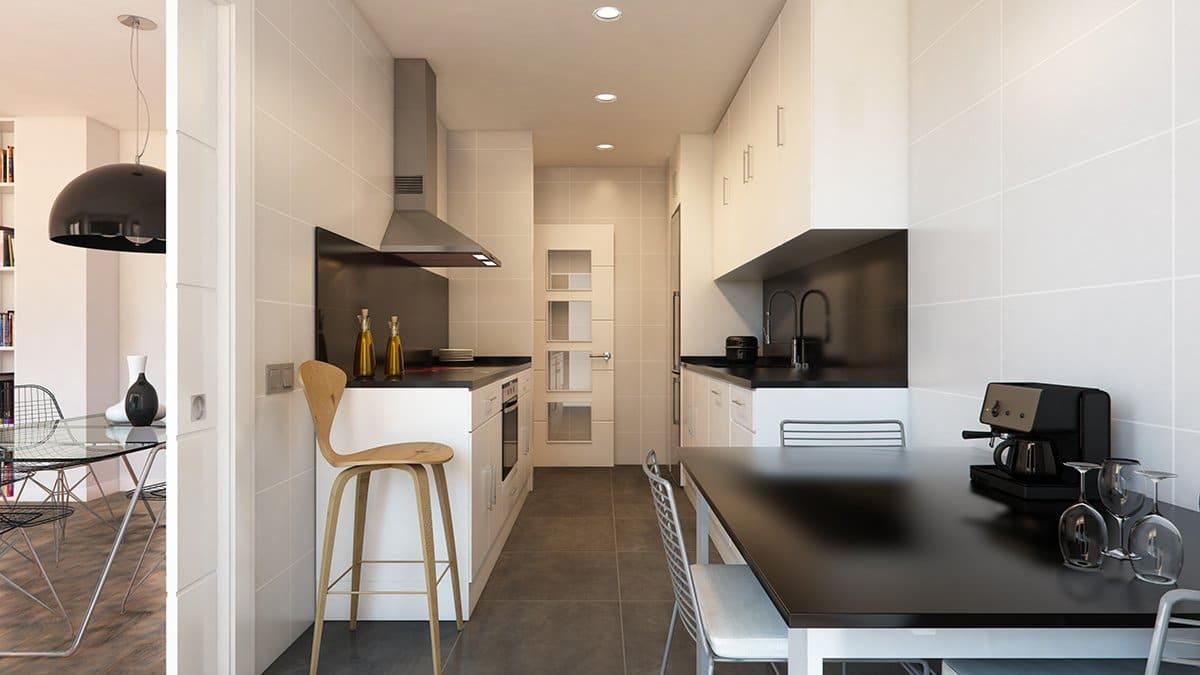 Render interior cocina por GAYARRE infografia