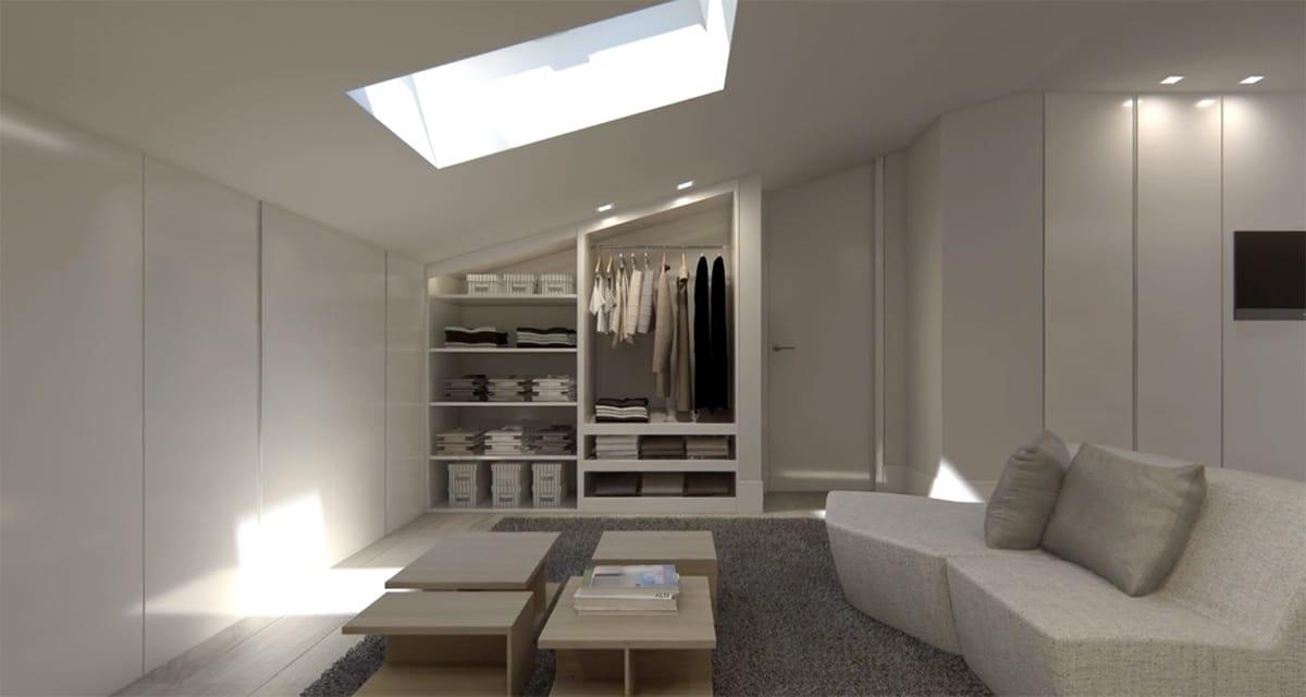 Render interior ático abuhardillado de A-cero Architects por GAYARRE infografia