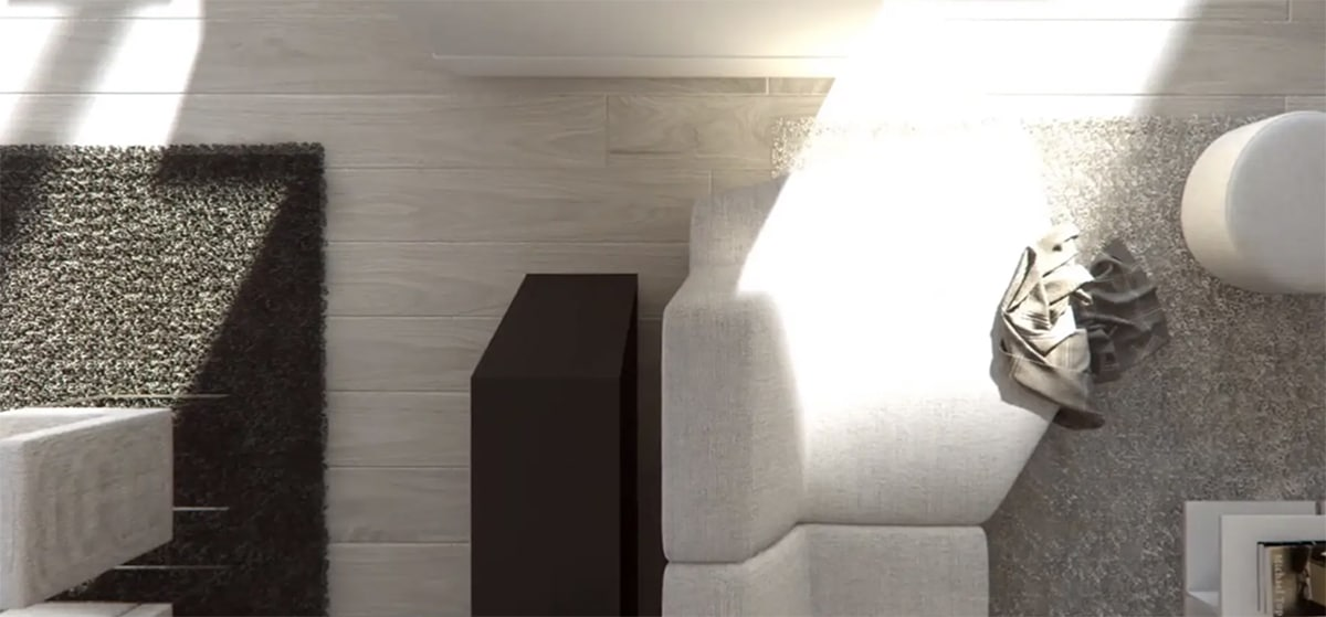 Render interior detalle salón de A-cero architects por GAYARRE infografia