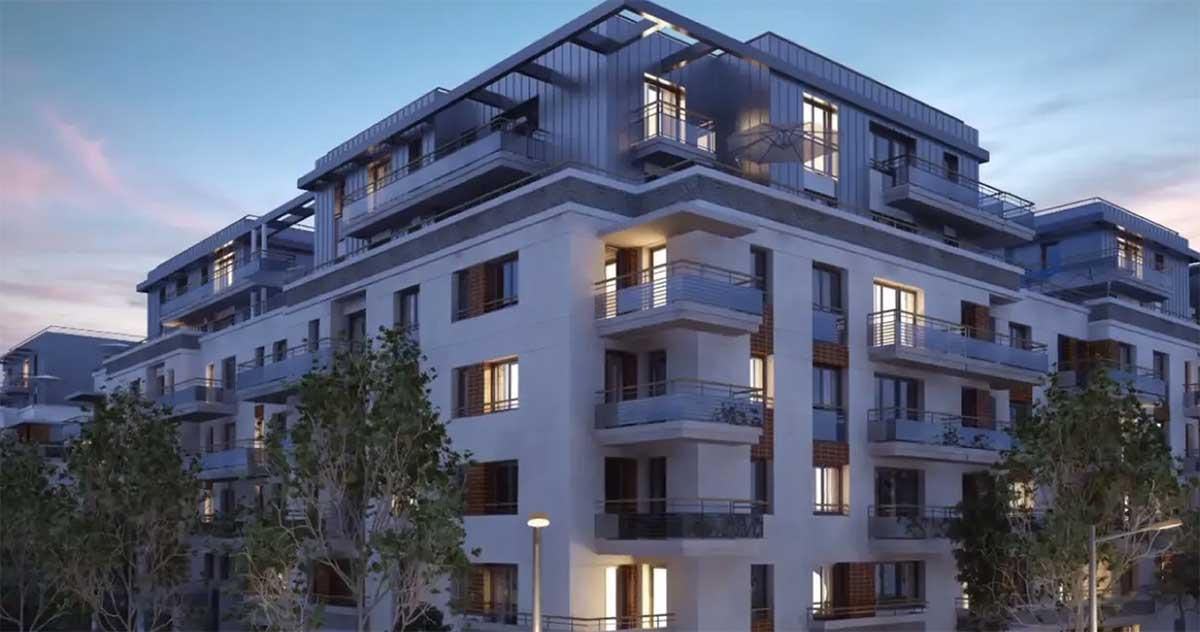 Render nocturno bloque de pisos en Lognes Francia