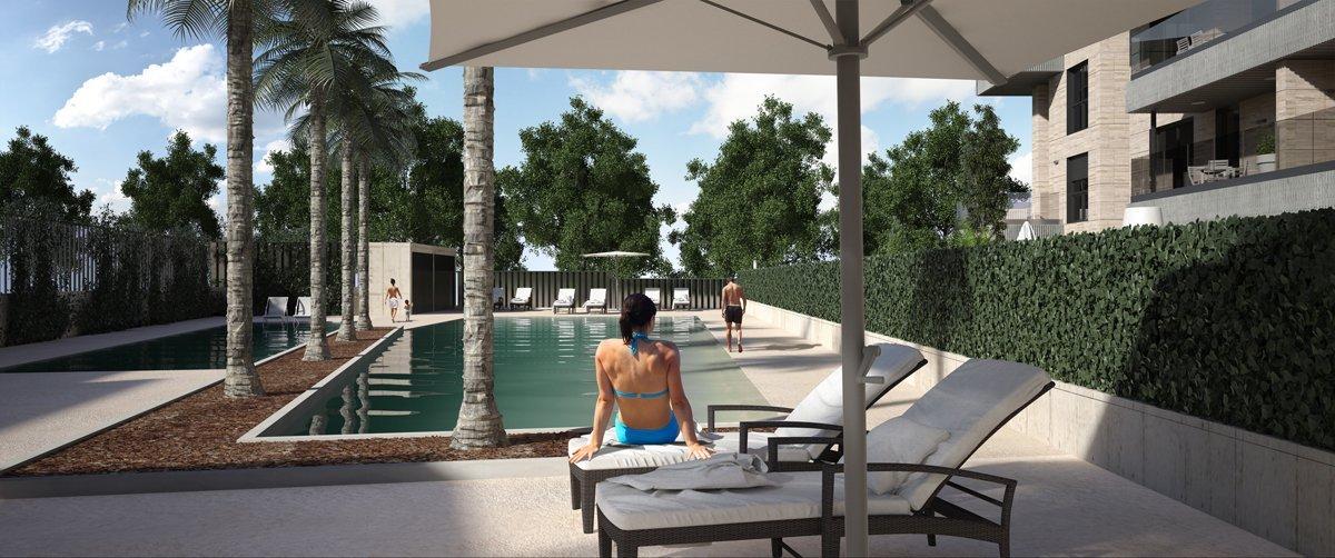 Render exterior piscina por GAYARRE infografia