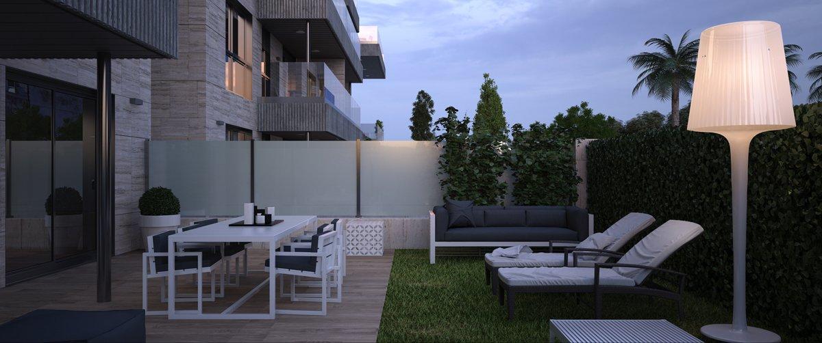 Render exterior jardín privado por GAYARRE infografia