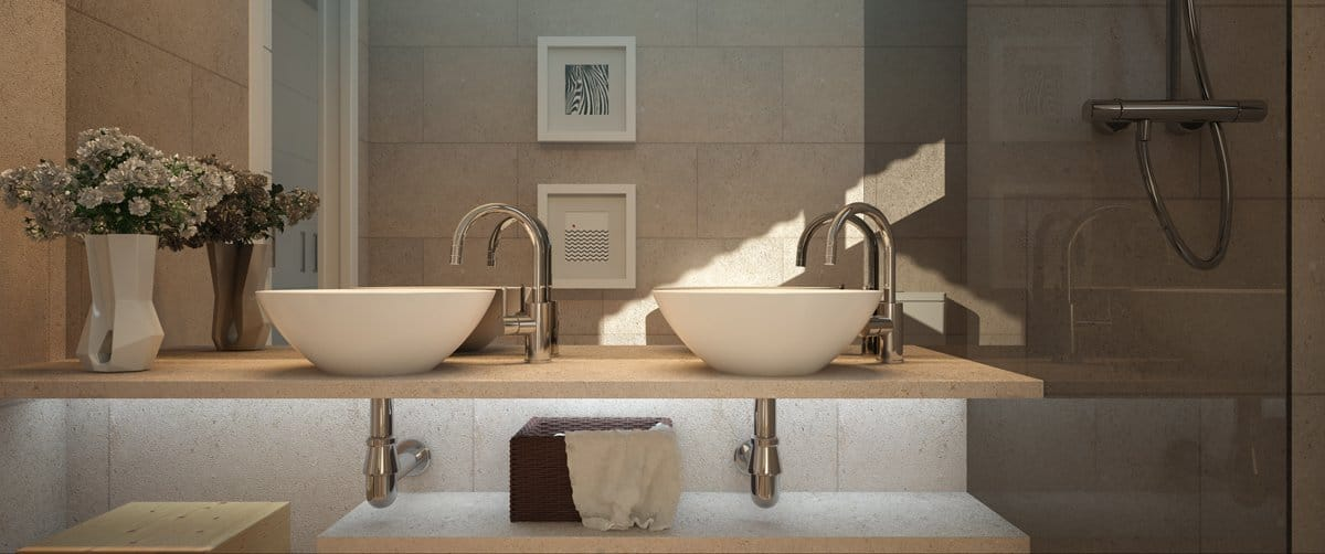 Render interior baño por GAYARRE infografia