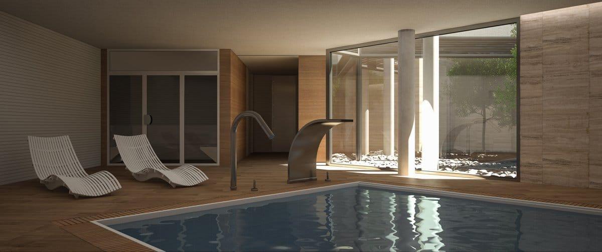 Render interior spa por GAYARRE infografia