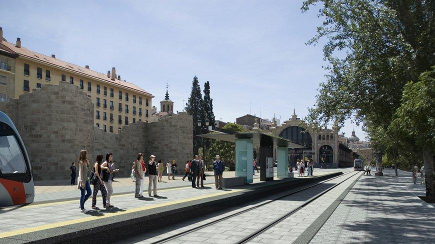 Render tranvía de Zaragoza a su paso por las murallas por GAYARRE infografia