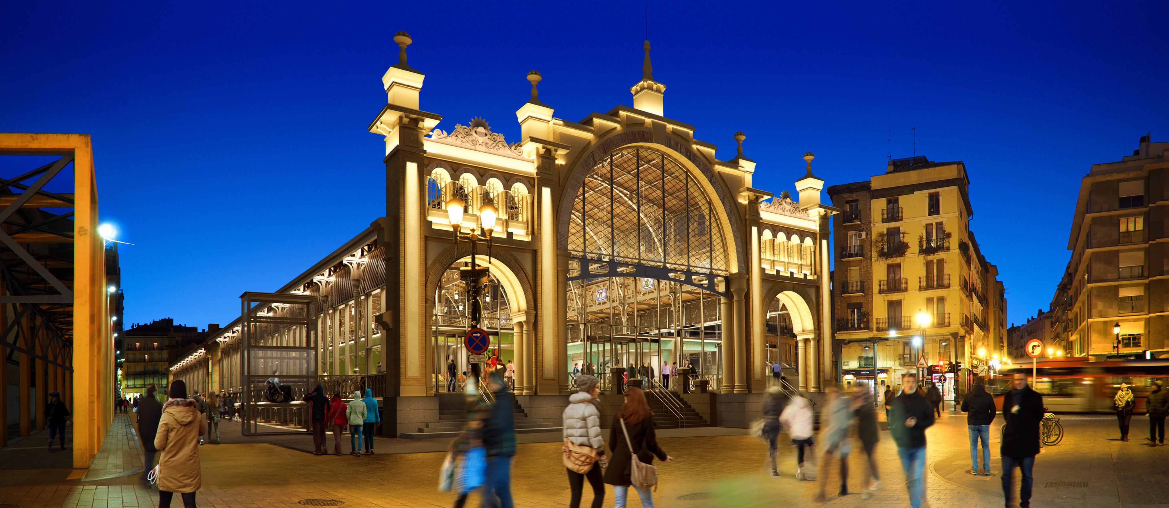 Render infografia exterior noche Rehabilitación Mercado Central Zaragoza por GAYARRE infografia