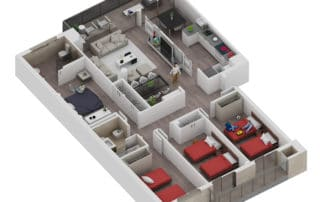 Render axonometric view of a house by GAYARRE infografia