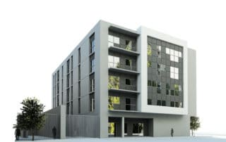 Render of a block of flats for an architectural contest by GAYARRE infografia