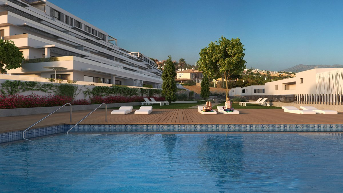 Render exterior swimming pool of Seascape Resort by GAYARRE infografia