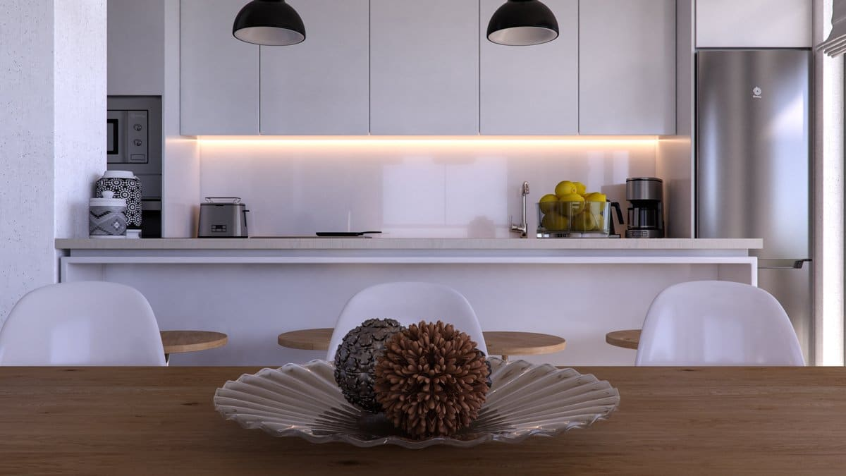 Render interior kitchen detail of Seascape Resort by GAYARRE infografia