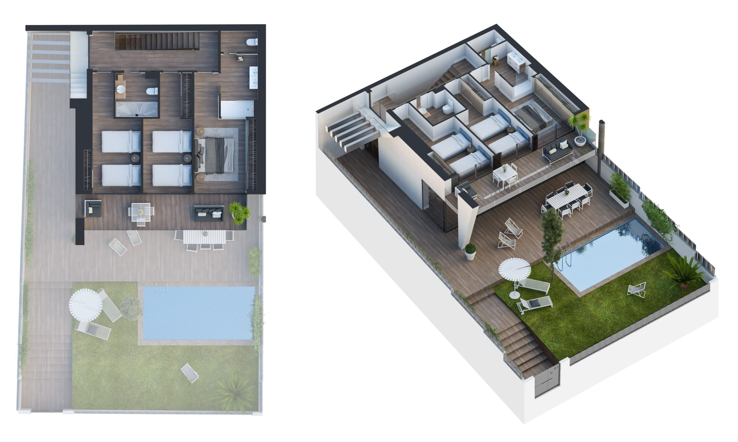 Render plan view and axonometric of a house by GAYARRE infografia