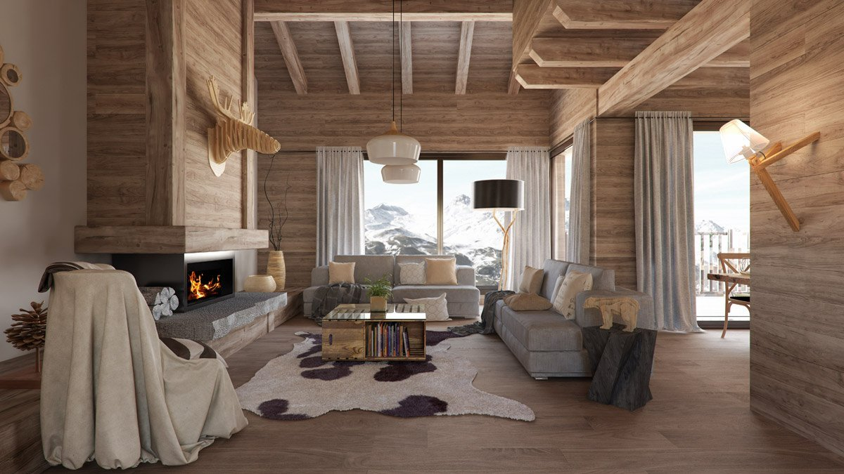 Render interior living room at Formigal by GAYARRE infografia
