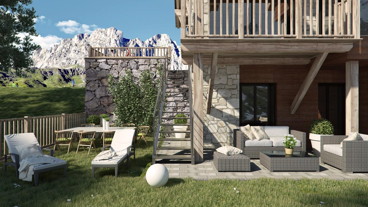 Render exterior house at Formigal by GAYARRE infografia