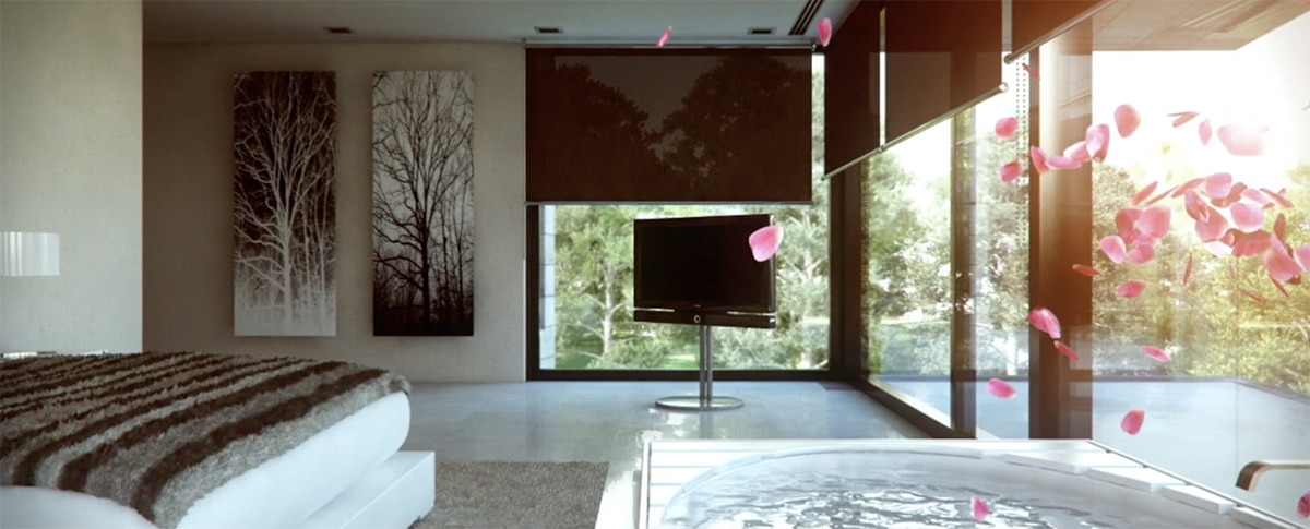 """Render of bedroom Casa Marbella of A-cero architects by GAYARRE infografia on film """"alone"""""""
