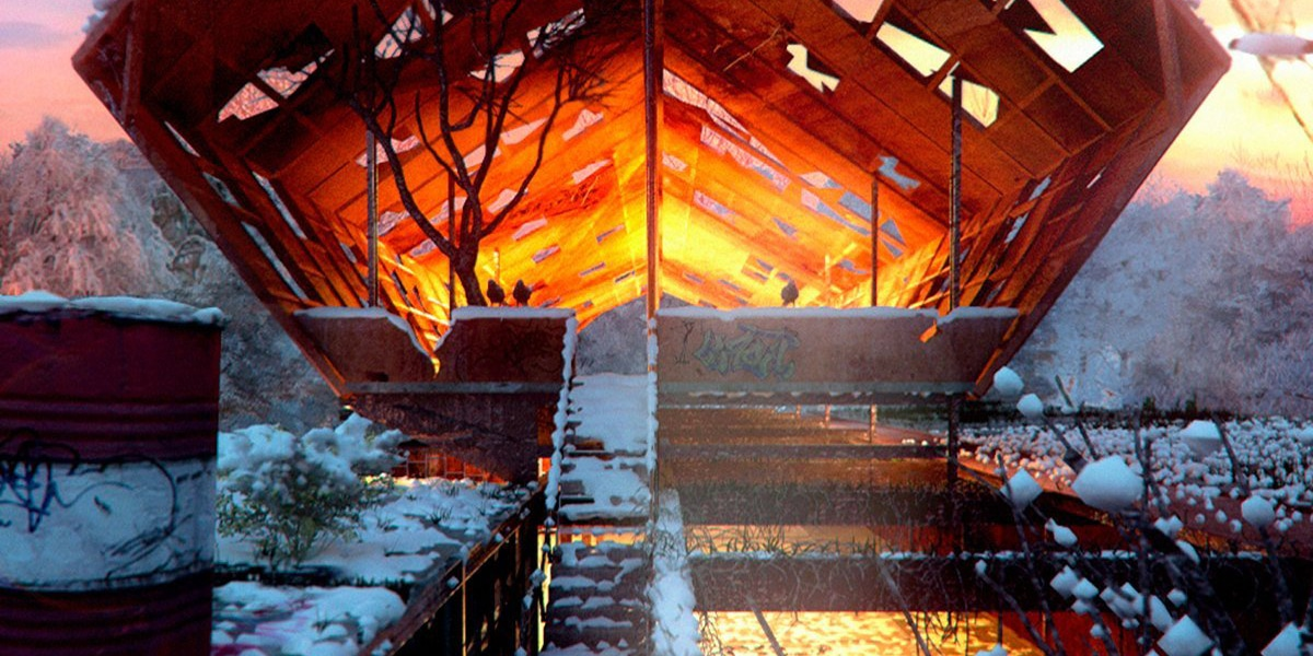Detail render contest of a bridge at sunset with snow