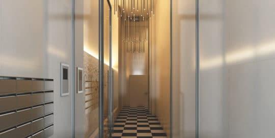 Render interior hallway at Brussels by GAYARRE infografia