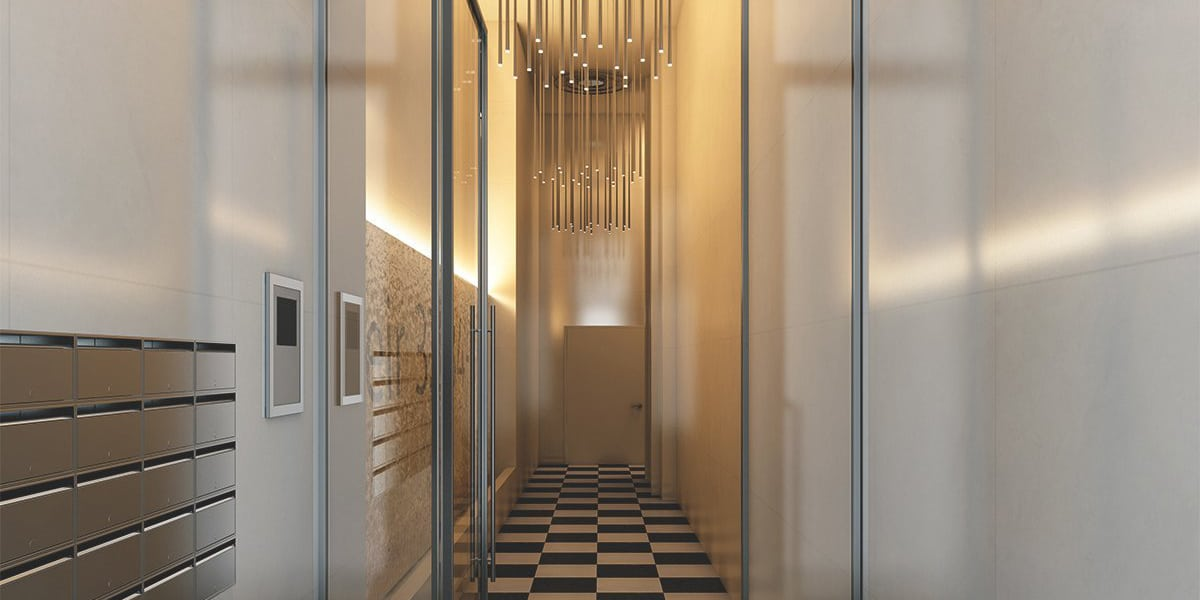 Render interior hallway at Brussels by GAYARRE infografia