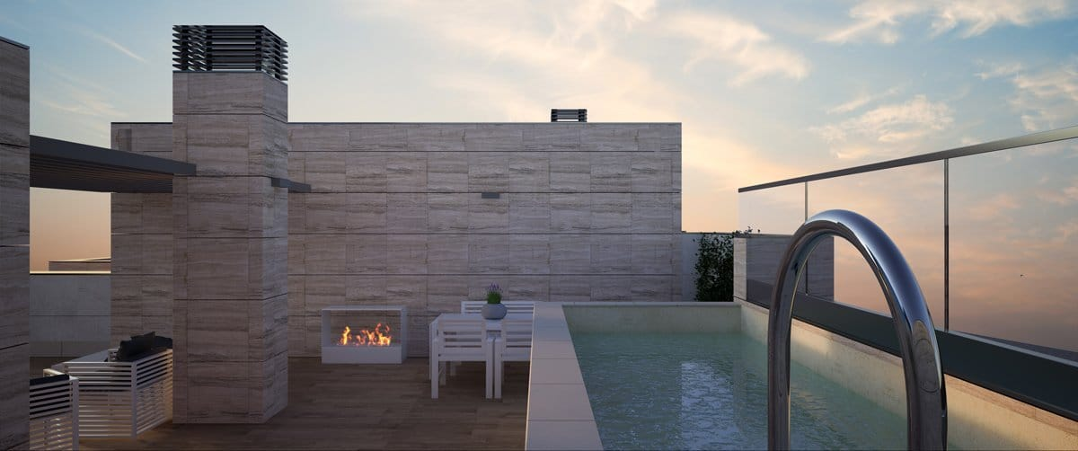 Render exterior penthouse with private swimming pool at sunset by GAYARRE infografia