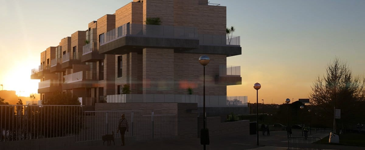 Render exterior block of flats at sunset by GAYARRE infografia