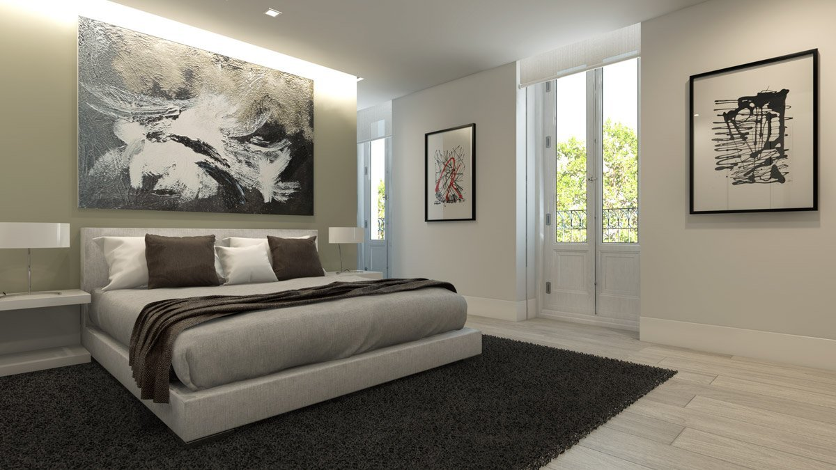 Render interior bedroom of A-cero architects project by GAYARRE infografia
