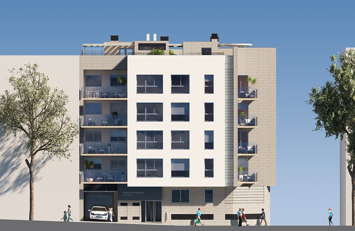 Render lateral elevation of block of flats by GAYARRE infografia