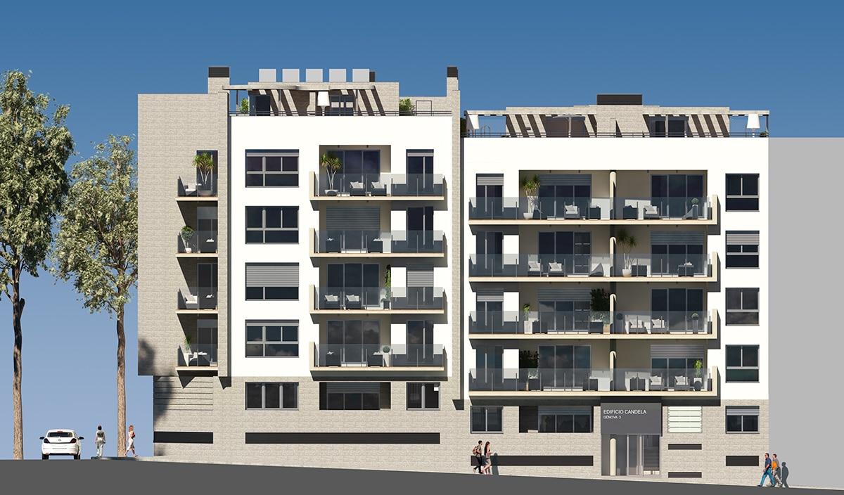 Front elevation of block of flats by GAYARRE infografia