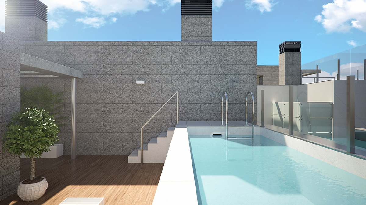 Render exterior penthouse with swimming pool by GAYARRE infografia
