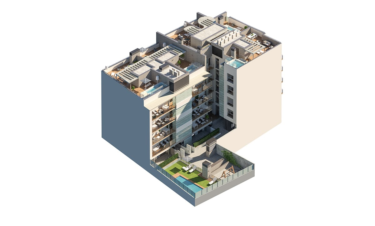 Render exterior axonometric view by GAYARRE infografia