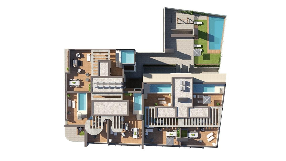 Render exterior cenital view block of flats by GAYARRE infografia