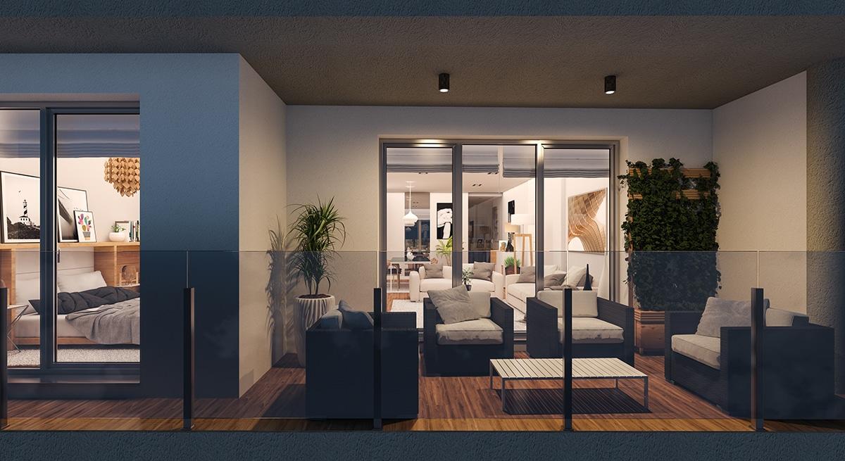 Render exterior terrace at night by GAYARRE infografia