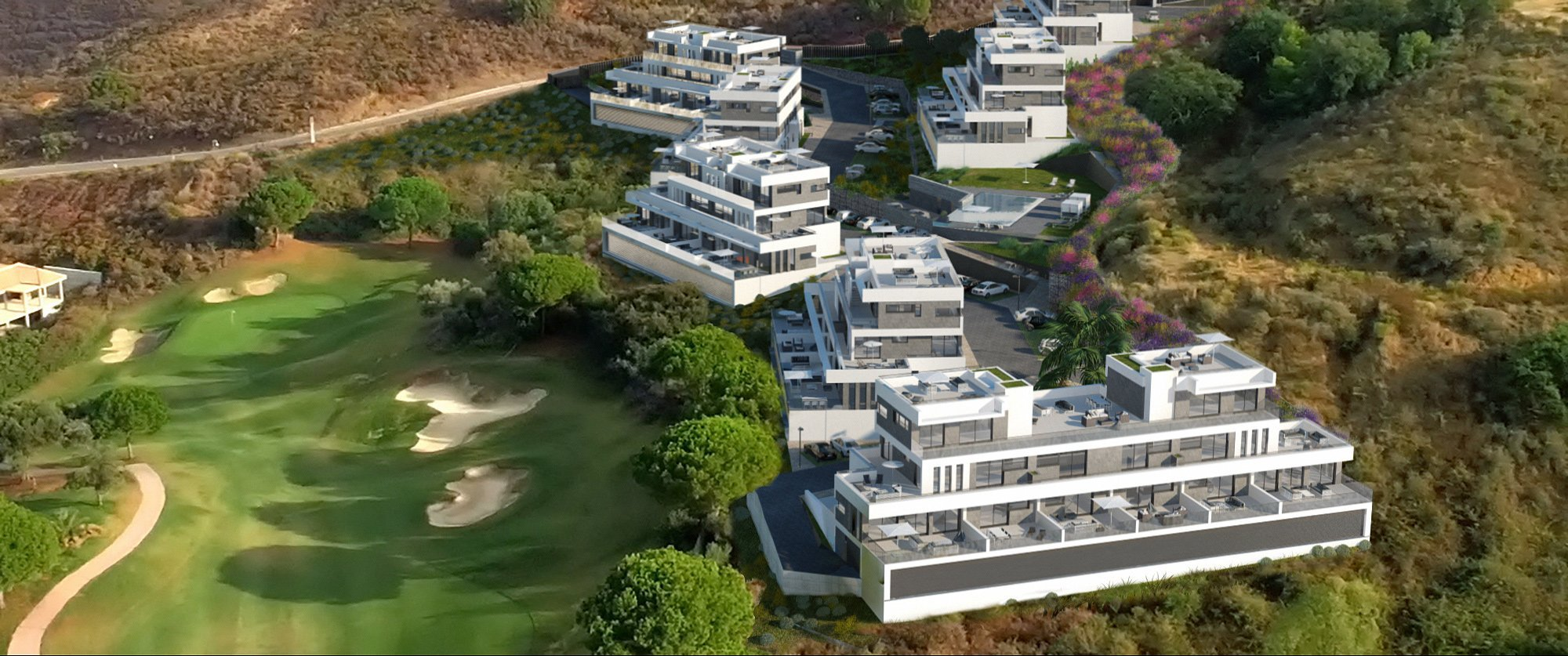 Render exterior aerial condominium by GAYARRE infografia
