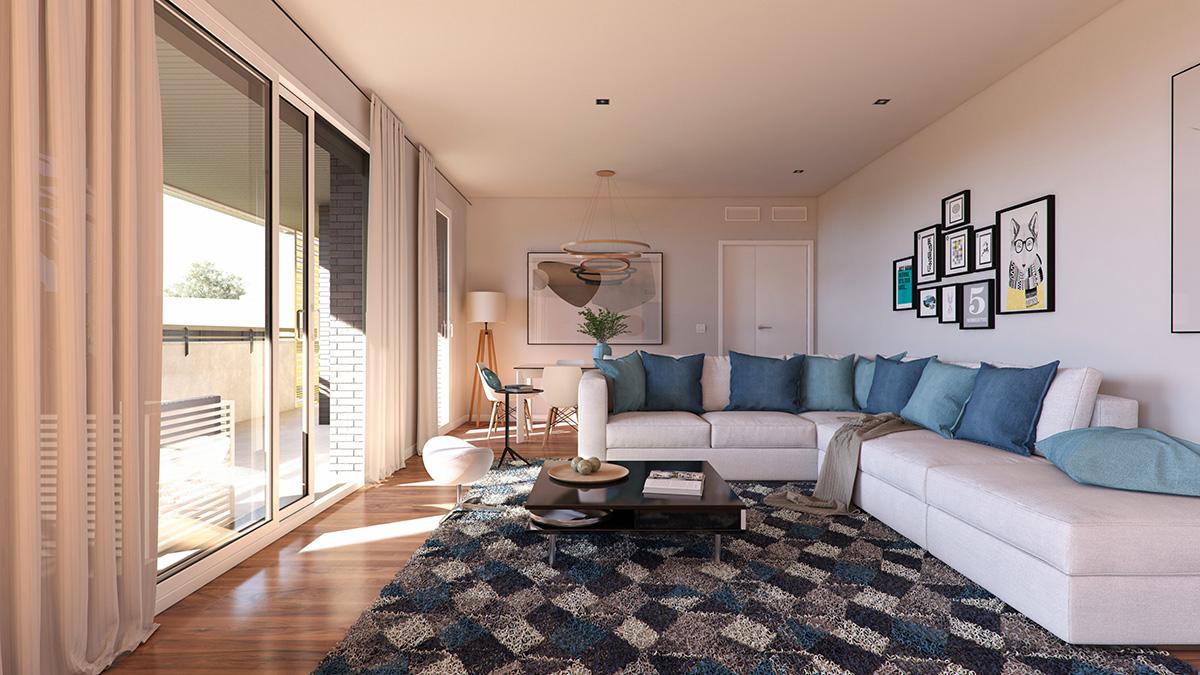 Render interior living room view block of flats Parque de la Estación by GAYARRE infografia