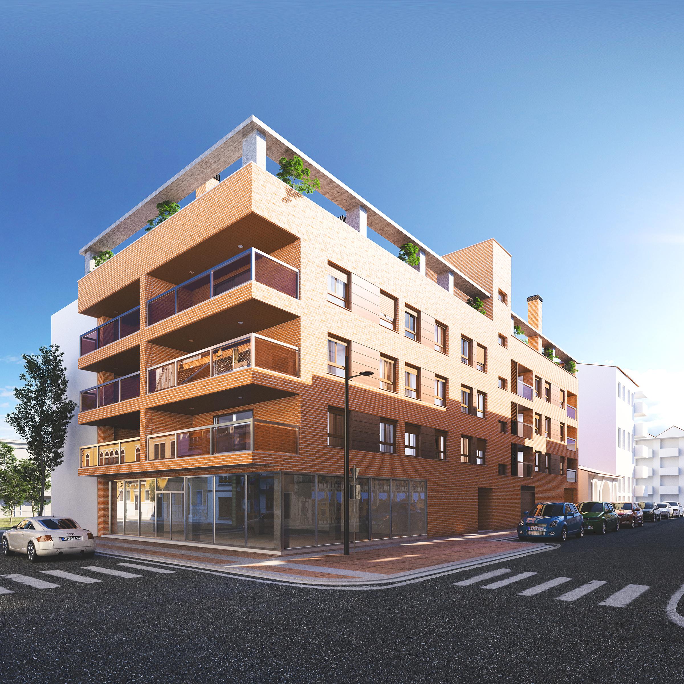 Render exterior view block of flats at Barbastro by GAYARRE infografia