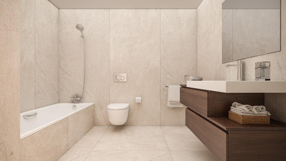 Render interior bathroom view block of flats at Lleida by GAYARRE infografia