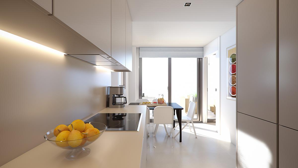 Render interior kitchen view block of flats at Lleida by GAYARRE infografia
