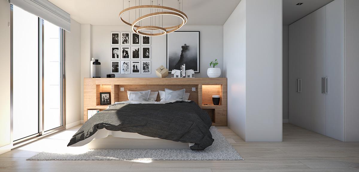 Render interior bedroom view block of flats at Lleida by GAYARRE infografia