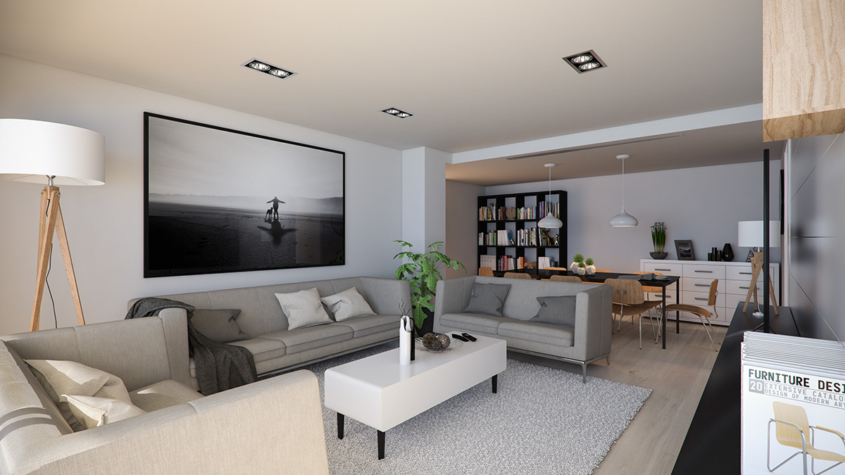 Render interior living room view block of flats at Lleida by GAYARRE infografia